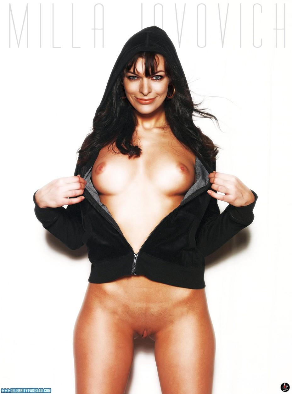 Milla Jovovich Fake, Flashing Tits, Pantiless, Porn