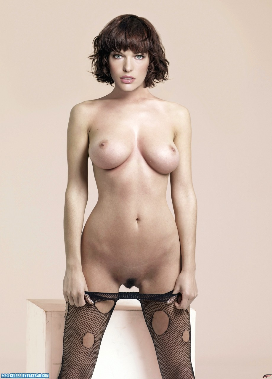 Milla Jovovich Fake, Completely Naked Body / Fully Nude, Stockings, Topless, Undressing, Porn