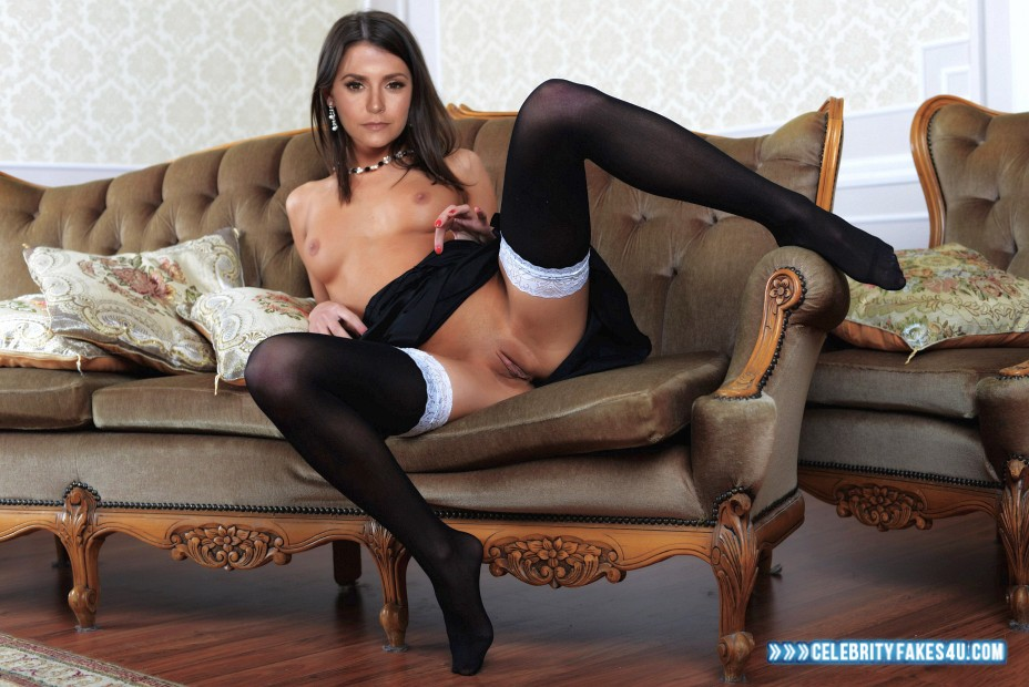 Nina Dobrev Fake, Legs Spread, Stockings, Tits, Topless, Porn