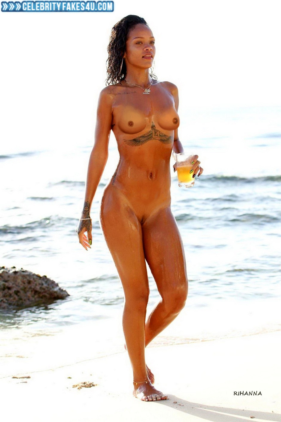 Rihanna Beach Camel Toe Naked Fake 001  Celebrity Fakes 4U-2176