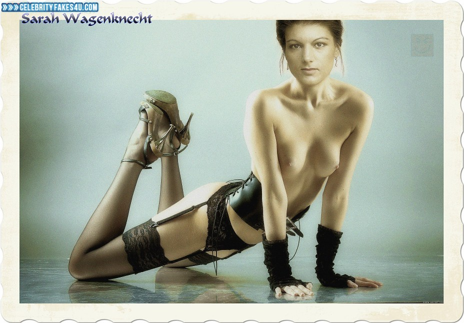 Sahra Wagenknecht Fake, Heels, Lingerie, Stockings, Very Nice Tits, Porn