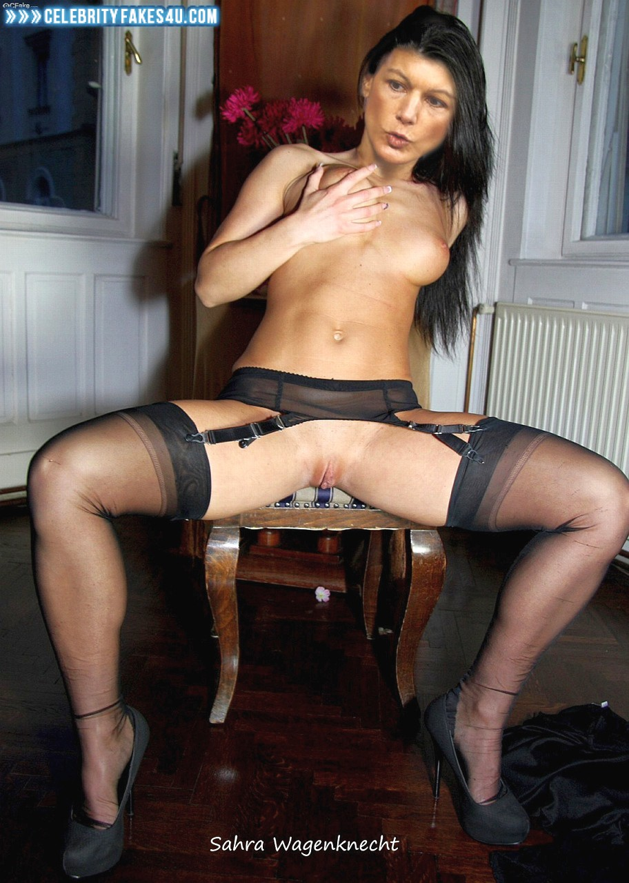 Sahra Wagenknecht Fake, Heels, Horny, Legs Spread, Squeezing Breasts, Stockings, Porn