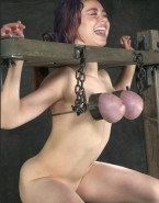 Sarah Hyland Squeezing Tits Bondage Porn 001