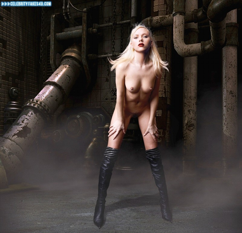 Scarlett Johansson Fake, Blonde, Knee-High Boots, Lipstick, Nude, Tits, Porn