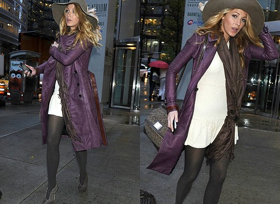 Blake Lively in Burberry Grainy Leather Trench Coat