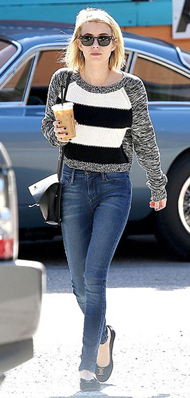 Emma Roberts Express Cropped Striped Sweater ...