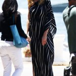 Halston Heritage One-Shoulder Draped Striped Dress as seen on Heidi Klum