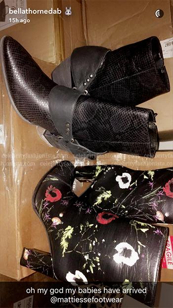 Bella Thorne Snapchat: Matisse Black Floral Graffiti Booties