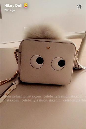 Hilary Duff Snapchat: Anya Hindmarch Leather Eyes Cross-Body Bag