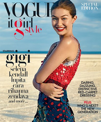 Gigi Hadid Vogue It Girl Cover: Altuzarra Sequined Colour Block Dress