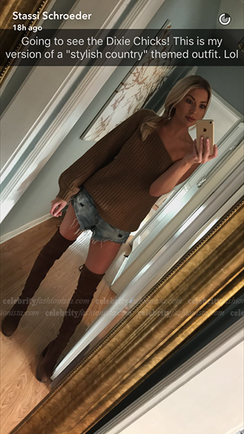 Stassi Schroeder Snapchat — LPA Sweater 3, Caramel
