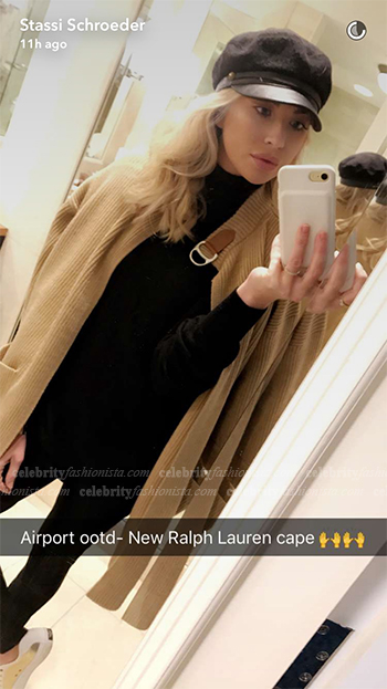 Stassi Schroeder Snapchat — Polo Ralph Lauren Leather-Trim Cardigan Cape