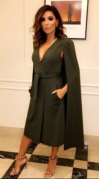 Eva Longoria Lavish Alice Maxi Belted Cape Blazer - Instagram October 27, 2016
