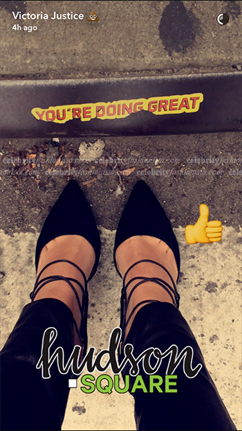 Victoria Justice wearing Steve Madden Raela Pumps on Snapchat November 3, 2016