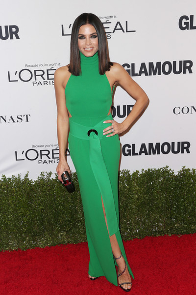Jenna Dewan-Tatum wearing green Solace London Piper belted halter gown and Giuseppe Zanotti Calliope Embellished Sandals to Glamour Women of the Year 2016 — November 14, 2016