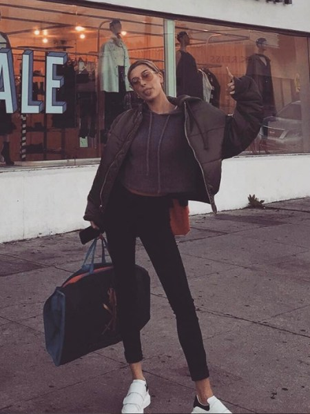 Hailey Baldwin, Alexander McQueen White Leather Velcro Sneakers (Instagram Jan 21, 2017)