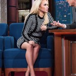 Hayden Panettiere in Balmain Checked Knit Dress on The Late Show with Stephen Colbert (Jan 5, 2017)