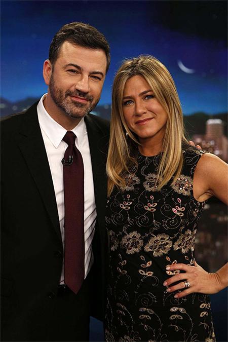 Jennifer Aniston in Givenchy Floral Embroidered Shift Dress on Jimmy Kimmel Live — December 8, 2016
