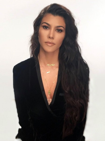 Kourtney Kardashian in AS by DF Callie Velvet Tuxedo Blazer (Instagram January 10, 2017)
