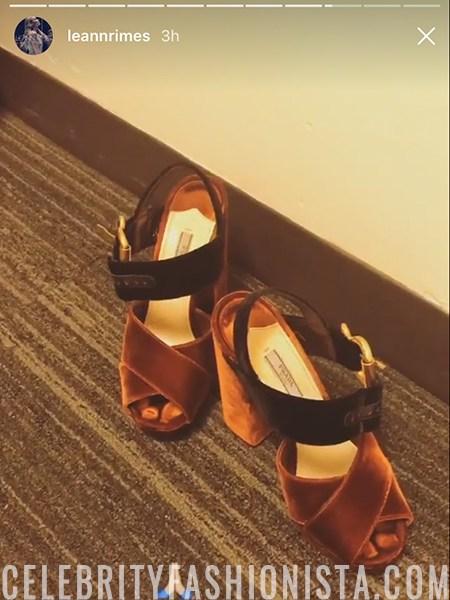 LeAnn Rimes, Prada Bicolor Velvet Platform Sandals (Instagram Feb 9, 2017)
