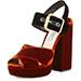 Prada Bicolor Velvet Platform Sandals