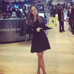 Nicole Lapin in Cushnie et Ochs Lace-up Flare Dress on NYSE - March 21, 2017
