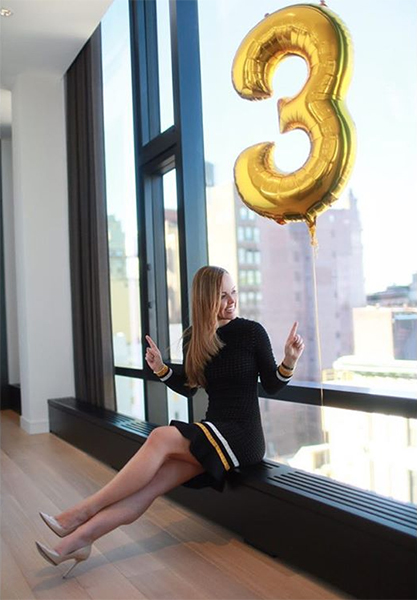 Nicole Lapin in 3.1 Phillip Lim Crochet Mini Dress with Stripes - Instagram March 18, 2017