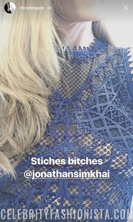 Nicole Lapin in Jonathan Simkhai Lace Midi Dress in Blue (Instagram Story, June 16)