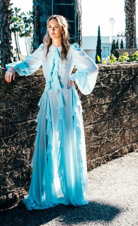 Leighton Meester wears a Lana Mueller Lily Cascade Collar Maxi Dress for the May 2017 issue of Bello magazine.