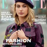 Hailey Baldwin wears a Coach 1941 Plum retro leather jacket for the cover of ELLE Magazine's July 2017 issue.