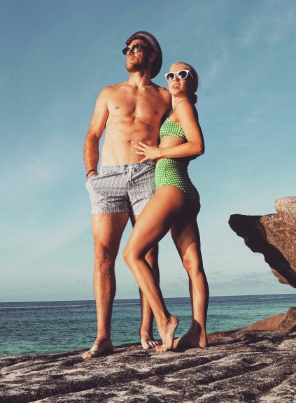 Julianne Hough wears a Reformation Camino Bikini Top and matching Reformation Mandalay Bikini Bottoms in Clover for honeymoon Instagram shot, July 18, 2017.