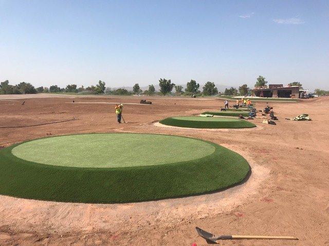 installation of asu golf team artificial turf practice facility