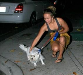 Hayden walks her dogs