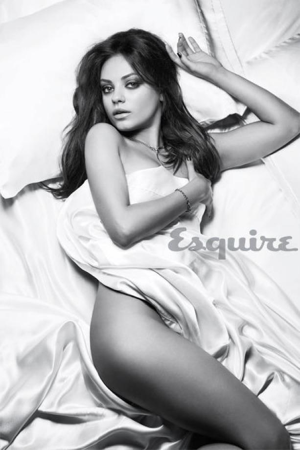 gorgeous mila kunis underneath the sheets for esquire magazine