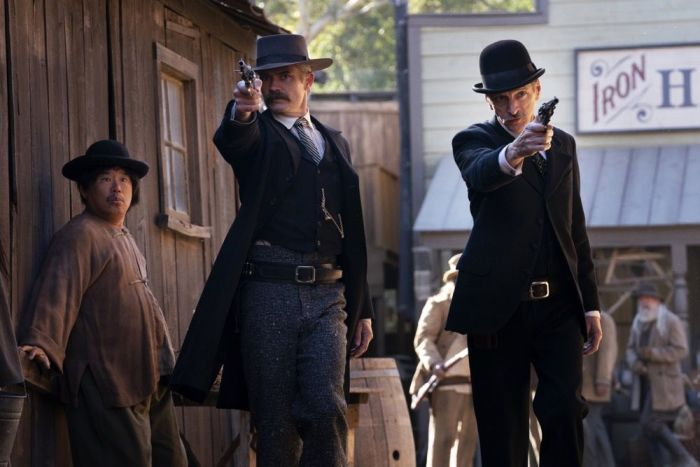 Timothy Olyphant and John Hawkes as Seth Bullock and Sol Star in HBO's Deadwood: The Movie
