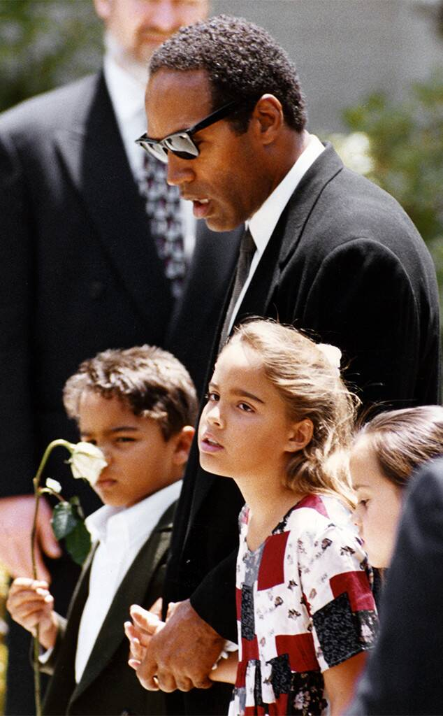 O.J. Simpson, Justin Simpson, Sydney Simpson, Nicole Brown Simpson Funeral, June 16, 1994