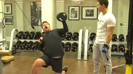 The 'Late Late' host, James Corden doing a workout
