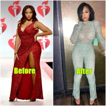 Before and After Snippet of Jordyn Woods weight loss