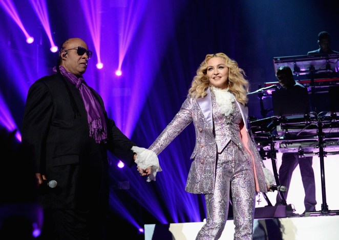 """2016 BILLBOARD MUSIC AWARDS - Theatre - The """"2016 Billboard Music Awards"""" broadcast airs live from T-Mobile Arena in Las Vegas on Sunday, May 22, at 8:00 p.m. EDT / 5:00 p.m. PDT on ABC. (Photo by Jeff Kravitz/Getty Images via ABC) STEVIE WONDER, MADONNA"""