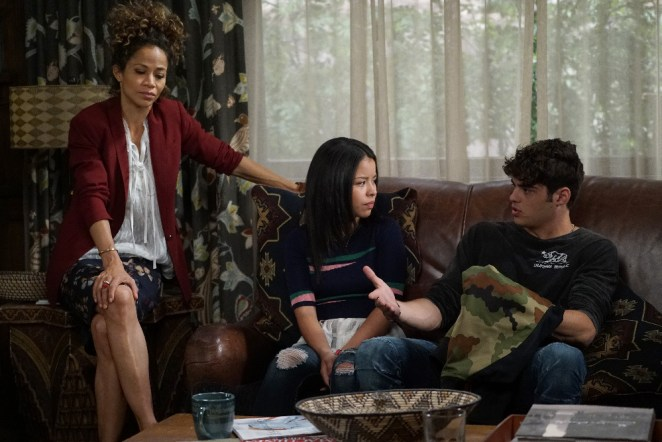 "THE FOSTERS - ""Safe"" - In the aftermath of the school lockdown, the family returns home where more secrets await, on an all-new episode of ""The Fosters,"" airing MONDAY, JUNE 27 (8:00 - 9:00 p.m. EDT), on Freeform. (Freeform/Eric McCandless) SHERRI SAUM, CIERRA RAMIREZ, NOAH CENTINEO"