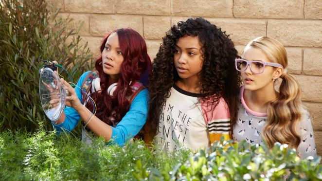 "Photo by Netflix shows Ysa Penarejo, Genneya Walton and Victoria Vida in a scene from ""Project Mc2."""