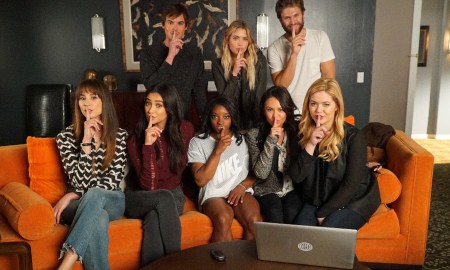 BACK ROW: TYLER BLACKBURN, ASHLEY BENSON, KEEGAN ALLEN;FRONT ROW: TROIAN BELLISARIO, SHAY MITCHELL, SIMONE BILES, JANEL PARRISH, SASHA PIETERSE