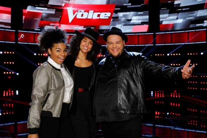"THE VOICE -- ""Live Top 11""  Episode: 1115B -- Pictured: (l-r) We McDonald, Alicia Keys, Christian Cuevas -- (Photo by: Trae Patton/NBC)"