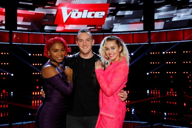 (l-r) Ali Caldwell, Aaron Gibson, Miley Cyrus -- (Photo by: Trae Patton/NBC)
