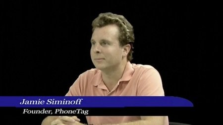 Jamie Siminoff during a start-up pitch of PhoneTag.
