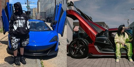 Billie Eilish in two pictures, one with McLaren 720S and one with Koenigsegg One:1.