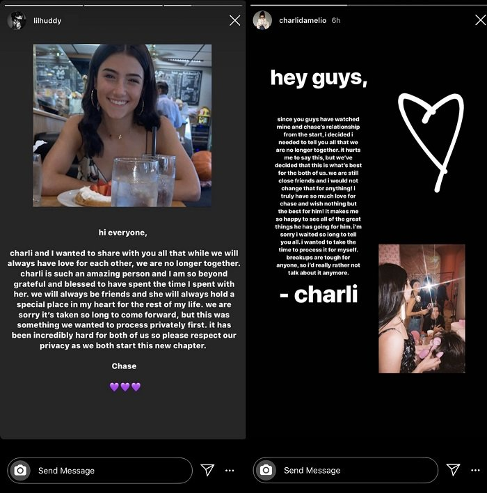 Charli D'Amelio and Chase Hudson's separation announcement on Instagram Stories.