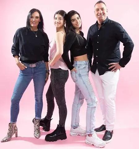 The D'Amelio Family: Heidi D'Amelio, Charli D'Amelio, Dixie D'Amelio, Marc D'Amelio.