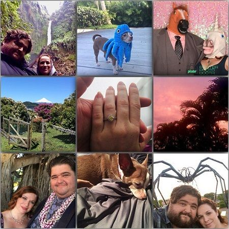 Nine photos of Jorge and wife Rebecca along with scenes and the center one being two hands (Rebecca's over Jorge's).