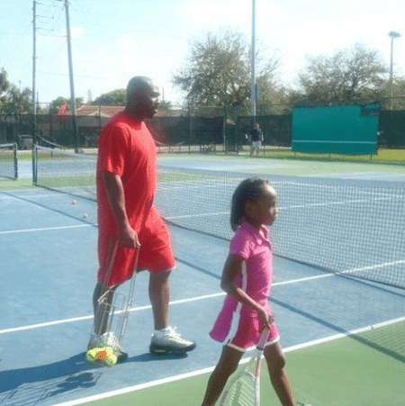 Coco with her father Corey Gauff.